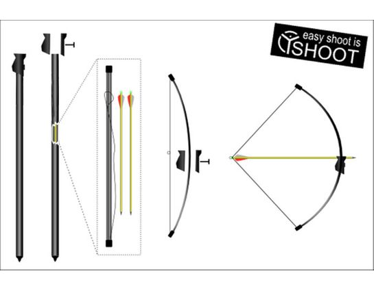 Yshoot Sport ARC Carbon Fiber Pygmy Bow Walking Stick with Bow and Arrows, Complete Set
