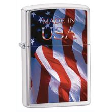 Zippo Made in USA Flag, Brushed Chrome Classic
