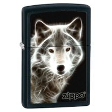 Zippo White Wolf, Black Matte Classic