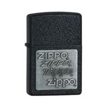 Zippo Black Crackle w/ Zippo Pewter Emblem Classic