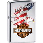 Zippo Harley-Davidson Flag Eagle, High Polish Chrome Classic
