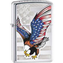Zippo Eagle Flag, High Polish Chrome Classic