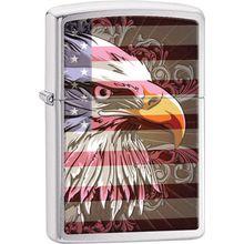 Zippo Eagle Flag, Brushed Chrome Classic