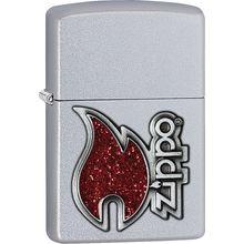 Zippo Red Flame, Satin Chrome Classic