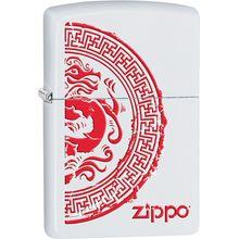 Zippo Dragon Stamp, White Matte Classic