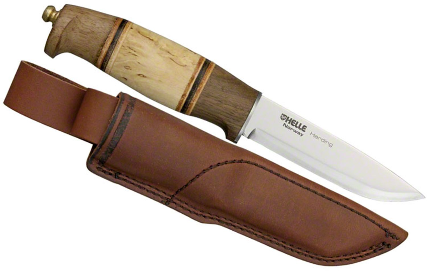 Helle Harding Hunting Knife 4 Blade Walnut And Curly Birch Handle Leather Sheath Knifecenter 99