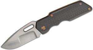 Attn2Detail Mercantile Custom MKI Medium #008 Folding Knife 3 inch CPM-154 Drop Point Blade, Carbon Fiber and Orange Peel Titanium Handles