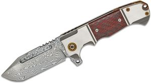 Andre De Villiers Knives Tanto Flipper Knife 3.75 inch VG-10 Damascus Tanto Blade, Titanium Handles with Red Carbon Fiber Inlays