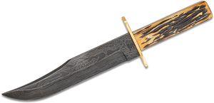Bear & Son 7.5 inch Bowie Damascus Steel Blade, Genuine India Stag Bone Handles