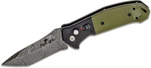Bear OPS AC-500-B4-LD Bold Action V AUTO 3.2 inch Damascus Modified Tanto Blade, Green/Black G10 Handles