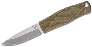 Benchmade 200 Puukko Fixed Blade Knife 3.75 inch CPM-3V Satin, OD Green Santoprene Handle, Black Leather Sheath
