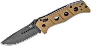 Benchmade Adamas Folding Knife 3.82 inch Black D2 Plain Blade, Desert Tan G10 Handles