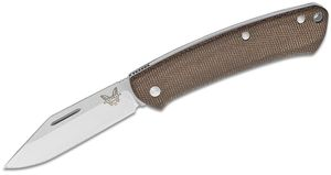 Benchmade 318 Proper Slipjoint Folding Knife 2.82 inch Satin S30V Clip Point Blade, Dark Brown Canvas Micarta Handles