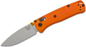 Benchmade Mini Bugout AXIS Folding Knife 2.82 inch S30V Satin Plain Blade, Orange Grivory Handles