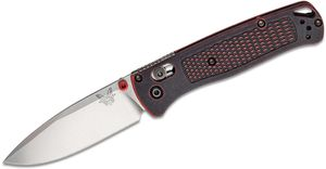 Benchmade Bugout AXIS Folding Knife 3.24 inch S30V Satin Plain Blade, Red Battlewash Grivory Handles - KnifeCenter Exclusive