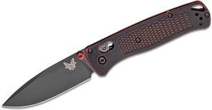Benchmade Bugout AXIS Folding Knife 3.24 inch S30V Black Plain Blade, Red Battlewash Grivory Handles - KnifeCenter Exclusive