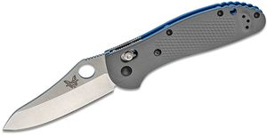 Benchmade Griptilian AXIS Lock Folding Knife 3.45 inch CPM-20CV Satin Sheepsfoot Plain Blade, Gray G10 Handles
