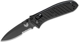 Benchmade 575SBK Mini Presidio II Folding Knife 3.2 inch S30V Black Combo Blade, Milled Black Aluminum Handles