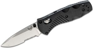 Benchmade 585S Mini-Barrage AXIS-Assisted Folding Knife 2.91 inch Satin Combo Blade, Black Valox Handles