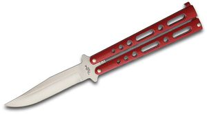 Benchmark Balisong Butterfly Knife 4.13 inch Clip Point Blade, Red Handles