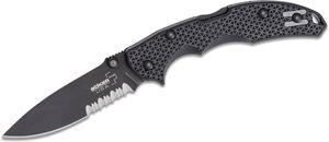 Boker Plus USA Folding Knife 3.375 inch 154CM Black Combo Blade, Black FRN Handles