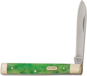 Buck 227 Single-Blade Doctor's Pocket Knife 3.66 inch Closed, Green Bone Handles w/ Nickel Silver Bolsters