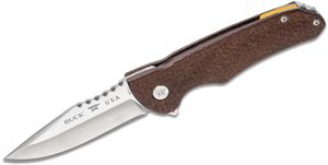 Buck 841 Sprint Pro Flipper Knife 3.125 inch S30V Stainless Steel Drop Point, Brown Burlap Micarta Handles