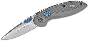 Buck 896 RapidFire Dual-Action AUTO Folding Knife 3.125 inch S30V Satin Plain Blade, Gray Aluminum Handles