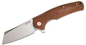 CJRB Cutlery Crag Flipper Knife 3.43 inch D2 Stonewashed Modified Sheepsfoot Blade, Contoured Burlap Micarta Handles - KnifeCenter Exclusive