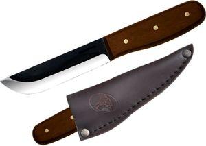 Condor Tool & Knife CTK236-4HC Bushcraft Basic Camp Knife 4 inch Carbon Steel Black Blade, Hardwood Handle, Leather Sheath