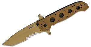 Columbia River CRKT M16-14DSFG Carson Special Forces Flipper 3.875 inch Tanto Combo Blade, Desert Tan, G10 Handles