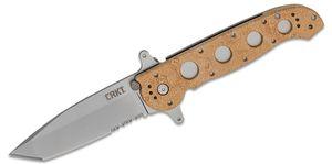Columbia River CRKT M16-14ZSF Carson Flipper 3.875 inch Bead Blast Combo Tanto Blade, Desert Tan GFN Handles