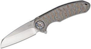 Curtiss Knives F3 Large Flipper Knife 3.75 inch Polished S35VN Wharncliffe Blade, Torched Titanium Handles