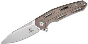 Defcon Knives Cutter Flipper Knife 3.39 inch D2 Satin Clip Point, Stonewashed Antique Brass Anodized Titanium Handles