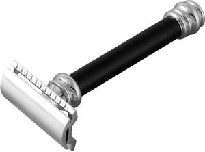 Merkur Three Piece Safety Razor, Chrome Plated Head,  inchBarber Pole inch Style Long Handle, 4 inch Overall
