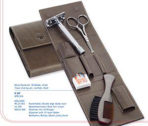Merkur 23C Travel Safety Razor Shaving Set, Extra Pack of Blades, Brush, Scissors, Leather Pouch