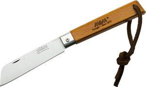 MAM Filmam 2042 Folding Knife 3.25 inch Sheepsfoot Blade, Beechwood Handle, Leather Lanyard