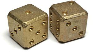 Flytanium Large Cuboid Brass Dice, 2-Pack