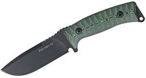 Fox Pro Hunter Fixed 4.3 inch Plain Blade, Green and Black Micarta Handles, Black Leather Sheath