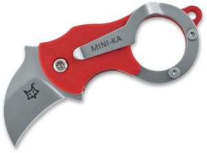 Fox FX-535R Mini-Ka Folding Karambit 1 inch Bead Blast Blade, Red FRN Handles