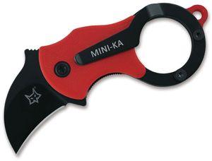 Fox FX-535RB Mini-Ka Folding Karambit 1 inch Black Cerakote Blade, Red FRN Handles
