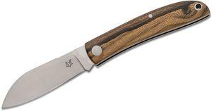 Fox FX-273 ZW Livri Slipjoint Folding Knife 2.75 inch M390 Satin Plain Blade, Ziricote Wood Handles, Black Leather Pouch