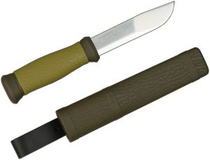 Morakniv Mora of Sweden Outdoor 2000 Utility Knife 4.3 inch Stainless Steel Blade, Olive Green Rubber Handle