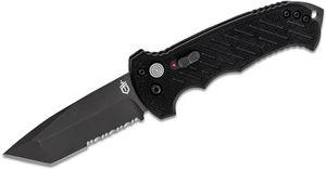 Gerber 06 AUTO Folding Knife 3.8 inch S30V Black Combo Tanto Blade, Black G10 Handles