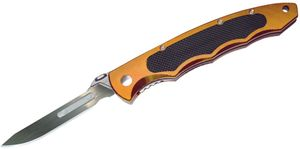 Havalon Piranta Torch Skinning Folding Knife 2-3/4 inch #60A Replaceable Blade, Light Copper Aluminum Handles