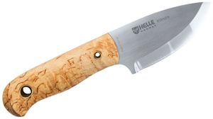 Helle Les Stroud Mandra Fixed 2.5 inch Triple Laminated Blade, Curly Birch Wood Handles, Leather Sheath