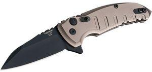 Hogue Elishewitz X1-Microflip Flipper 2.75 inch CPM-154 Black Plain Wharncliffe Blade, FDE Aluminum Handles
