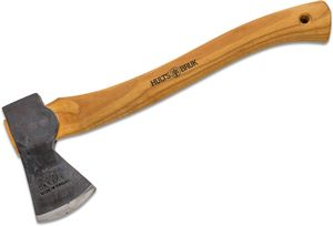 Hults Bruk Premium Almike 16 inch Hatchet, Hickory Wood Handle, Leather Sheath