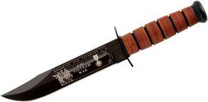 KA-BAR 9140 USMC Commemorative Vietnam Fighting Knife 7 inch Plain Blade, Leather Handles, Leather Sheath