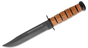 KA-BAR 1217 Full Size USMC Fighting Knife 7 inch Plain Blade, Leather Handles, Leather Sheath